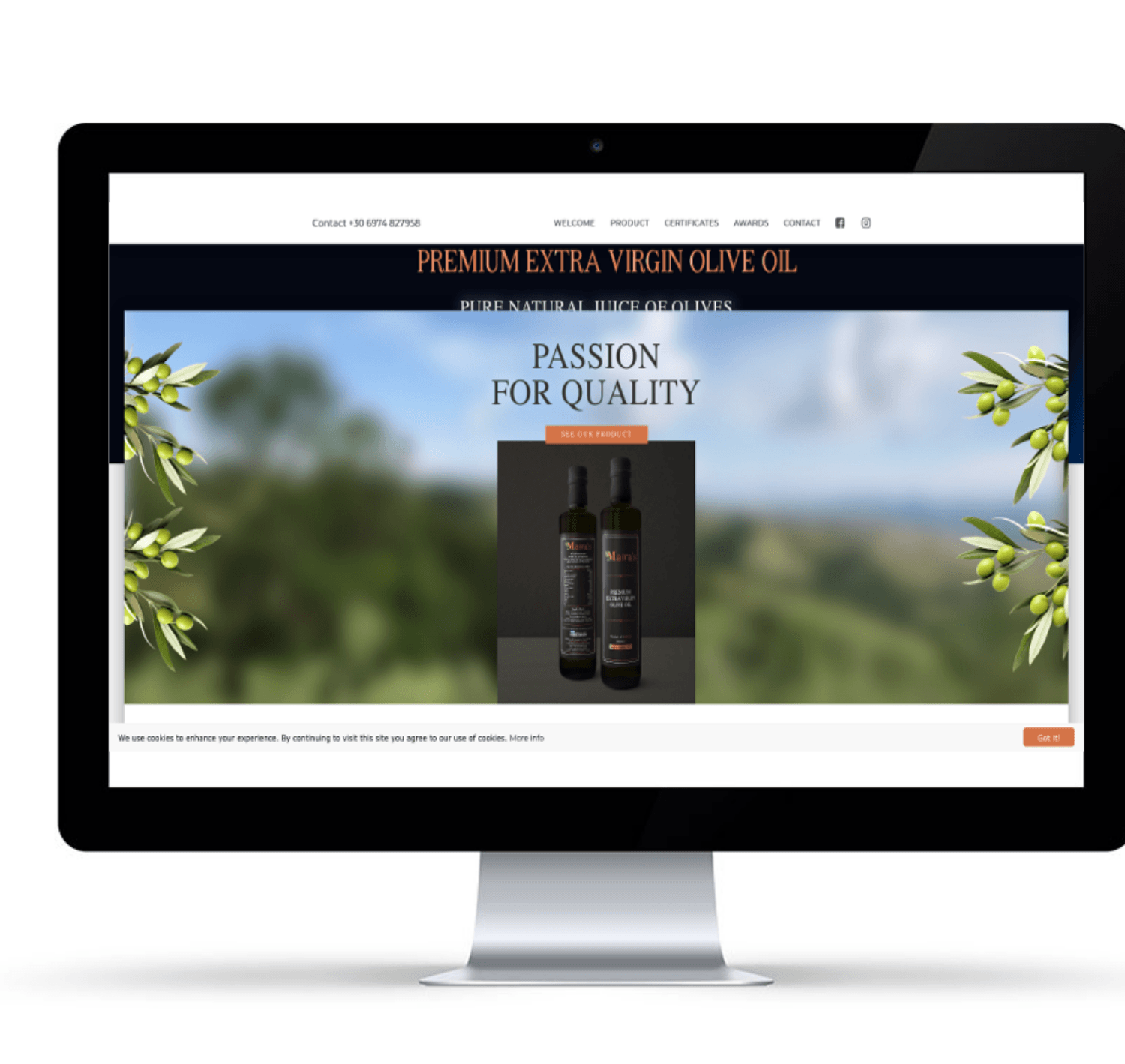 website for olive oil business
